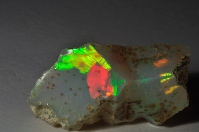 Ethiopian opal rough with strong colours and surface features