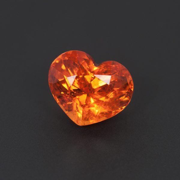 Orange Spessartite Garnet Heart with strong brilliance